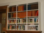Book shelves with biographies